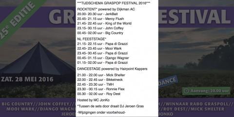 2016_Entreekaart_Graspop_Timetable